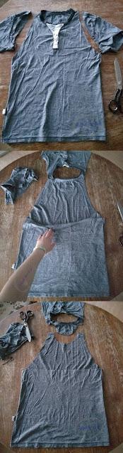 przeróbka męskiego t-shirtu DIY top wiązany na szyi - Adzik tworzy