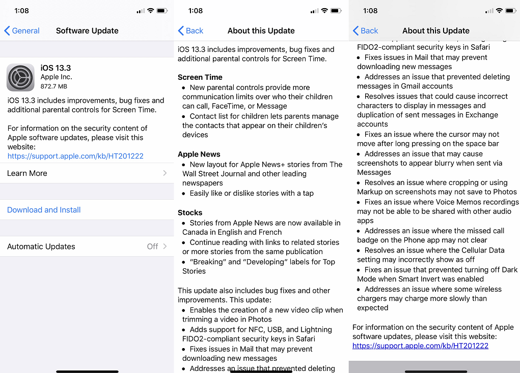 iOS 13.3 Features Changelog