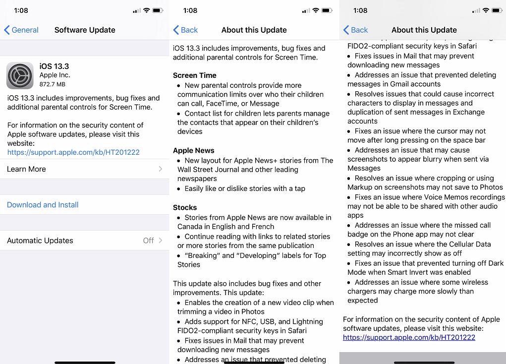 iOS 13.3 Features Changelog