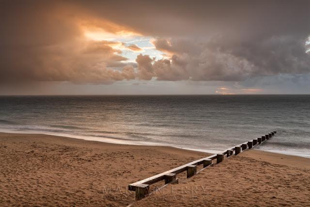 Swanage beach groyne in Dorset on the South West coast