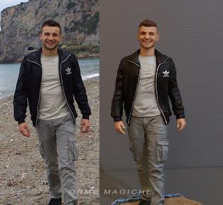 statuetta personalizzata da fotografia minime action figure modellini da foto ragazzo sulla spiaggia orme magiche