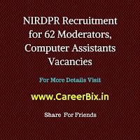 NIRDPR Recruitment for 62 Moderators, Computer Assistants Vacancies