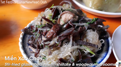 Stir Fried glass noodles with shiitake and woodear mushrooms