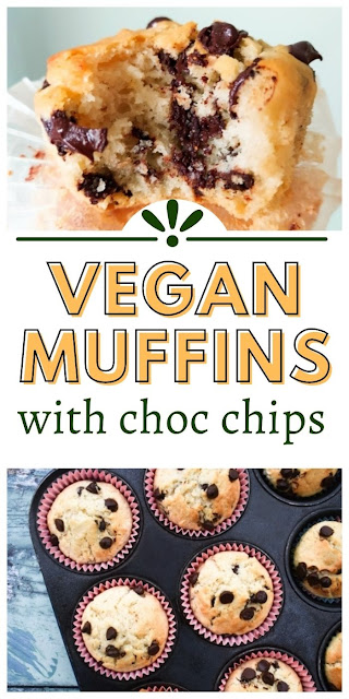 Vegan chocolate chip muffins are a quick sweet treat that are super quick to make and are dairy-free and egg-free. They are soft and fluffy and not too sweet.