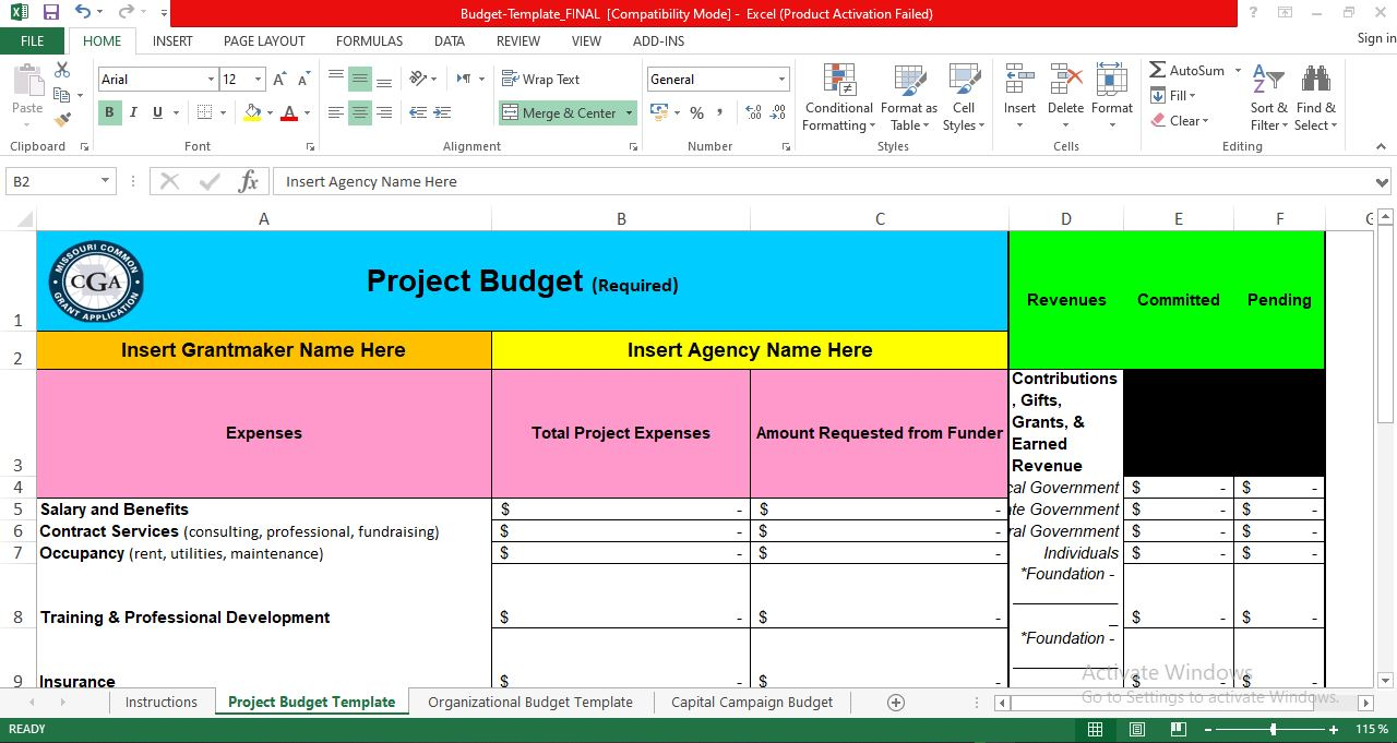 Project Management Budget Template