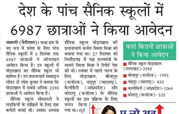 देश के 5 सैनिक स्कूलों में 6987 छात्राओं ने किया आवेदन, जाने कहा कितना किया आवेदन