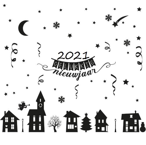2021 gelukkig nieuwjaar met kerst