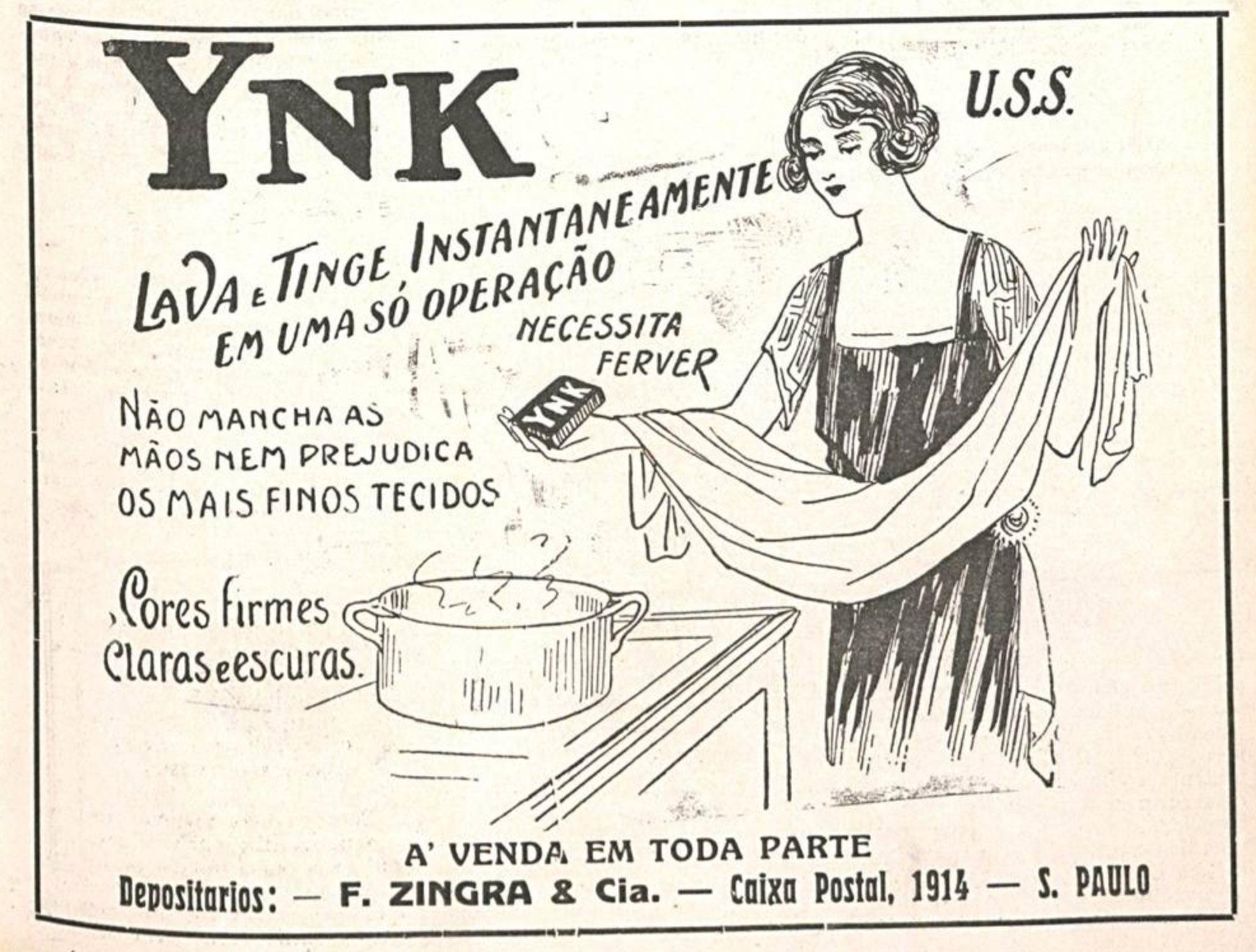 Propaganda antiga da tintura Ynk para roupas apresentado em 1924