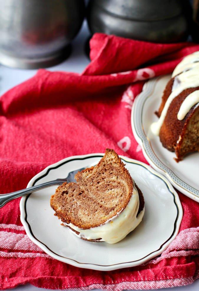 Marbled Chocolate Orange Bundt Cake with orange glaze