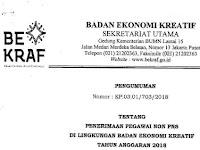 Penerimaan Pegawai Non PNS Di Lingkungan Badan Ekonomi Kreatif Tahun Anggaran 2018