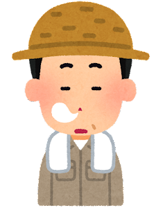 農家の男性のイラスト「居眠り」