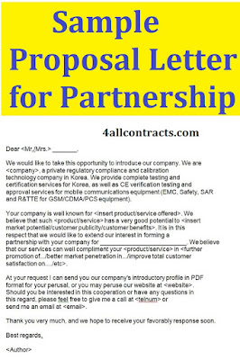 Sample Proposal Letter for Partnership doc word