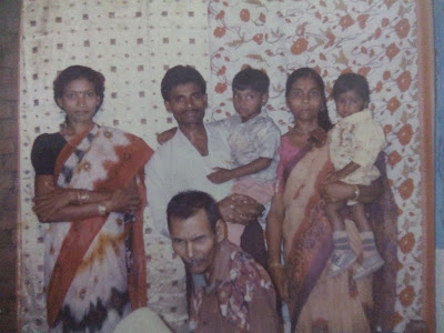 My Family Photo captured at our Home in Barbaspura. My Aunt, I am on my Father's waist and my younger brother Vivek on my Mother's waist from Left to right.  My paternal grandfather in center.