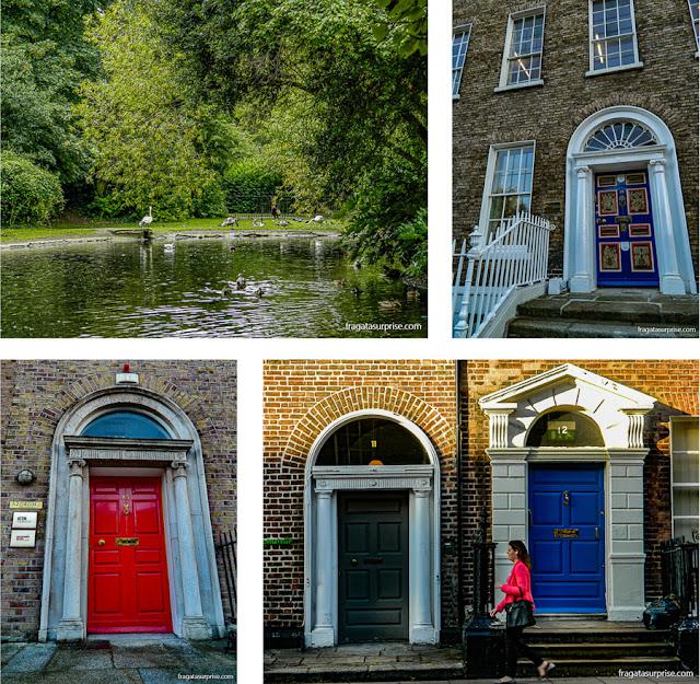St. Stephen's Green e casas georgianas em Dublin