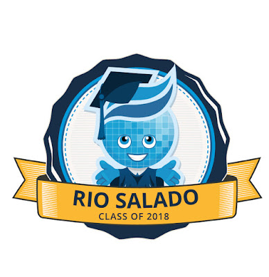 Rio Salado Grad Badge featuring Rio mascot Splash.  Text: Rio Salado Class of 2018