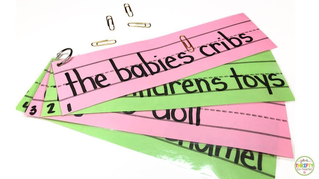Possessive nouns activities such as using sentence strips and paper clips are great to use in centers.