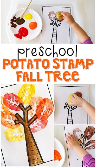 This potato stamp fall tree art project turned out so gorgeous! Great for tot school, preschool, or even kindergarten!