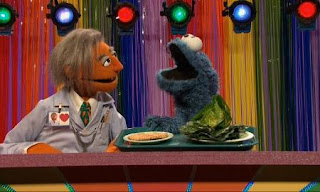 Dr. Ruster and Cookie Monster host the show Sometime or Anytime Food. Sesame Street C is for Cooking
