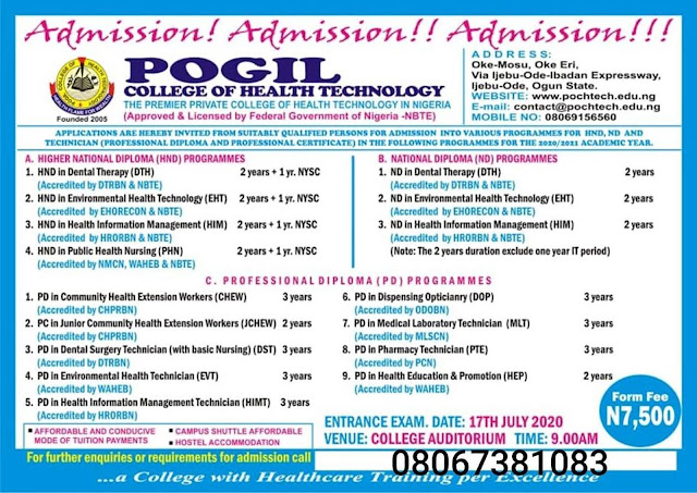 POCHTECH Admission Form 2020/2021 | ND, HND & Technician Courses