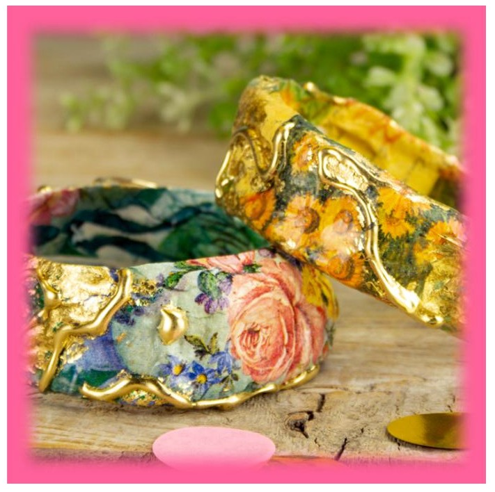 create vintage inspired bangle braceletes with ornate gold touches diy