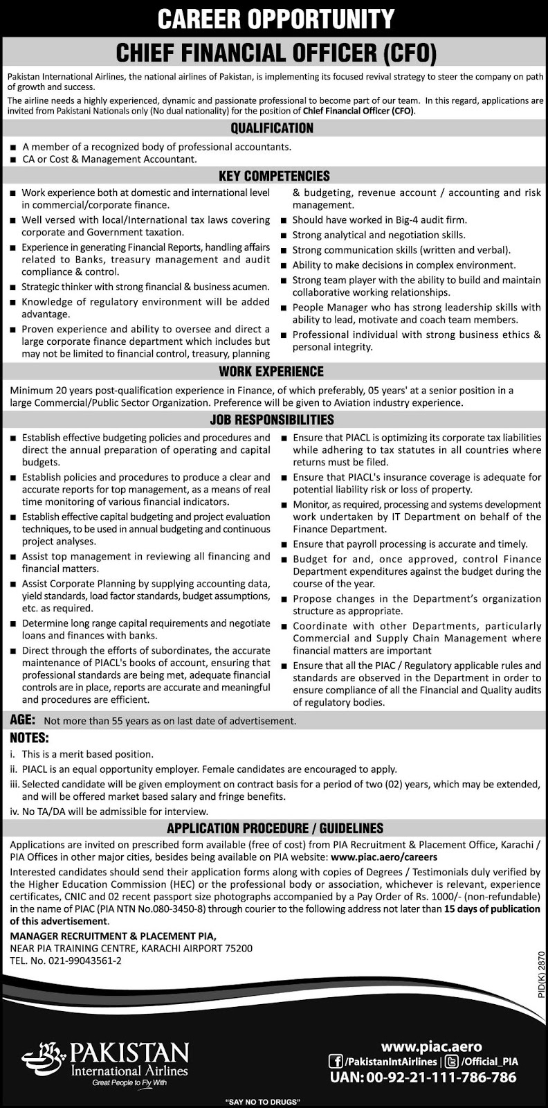 Jobs Vacancies In Pakistan International Airlines PIA 29 January 2019