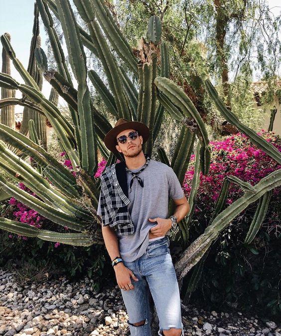 look masculino neutro basico com chapéu fedora, bandana e óculos