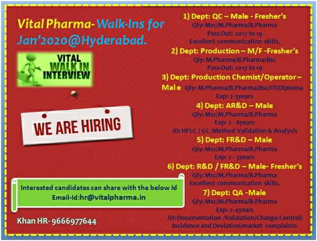 Vital Pharma urgent job openings for the Freshers and Experienced candidates in QA / QC /Production / AR&D / FR&D /R&D