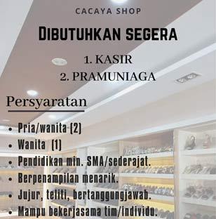 Lowongan Kerja Kasir dan Pramuniaga di Toko Cacaya Signature Makassar