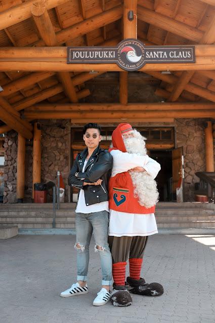 Meeting Santa Claus at Santa's Village in Rovaniemi