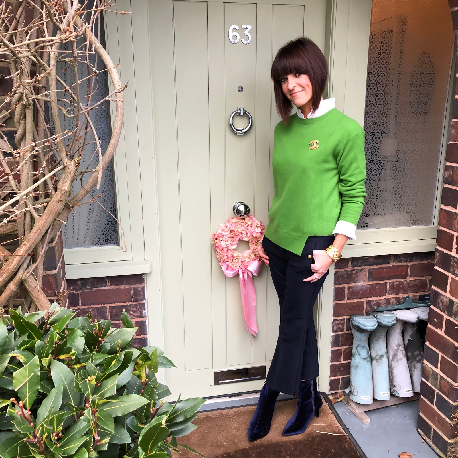 my midlife fashion, uniqlo high collar frill blouse, chanel vintage brooch, marks and spencer pure cashmere step hem round neck jumper, j crew cropped kick flare military trousers, marks and spencer stiletto side zip ankle boots
