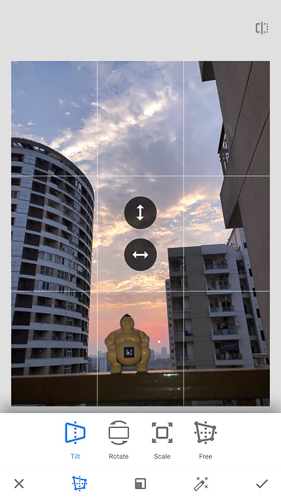 For the photograph we chose for this blogpost, the very first tool we used is 'Perspective', which helps in aligning different elements of the photograph by helping in correcting vertical/horizontal perspectives, rotation along with Scale/Free. In this photograph you can see that buildings are tilted inwards and I wanted them to look straight. So we used Vertical perspective by swiping the finger vertically - upwards or downwards depending upon the need and when achieved desired results, clicked on tick icon in right bottom of the screen.     Perspective Tools in Snapseed is super useful for Architecture photography - for Interiors as well as exteriors.     Following video explains about Perspective in Snapseed with another good example of photograph clicked in Las Vegas -