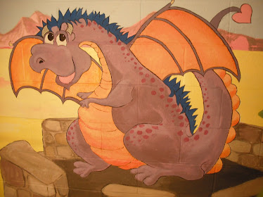 Dragons mural at a nursery school