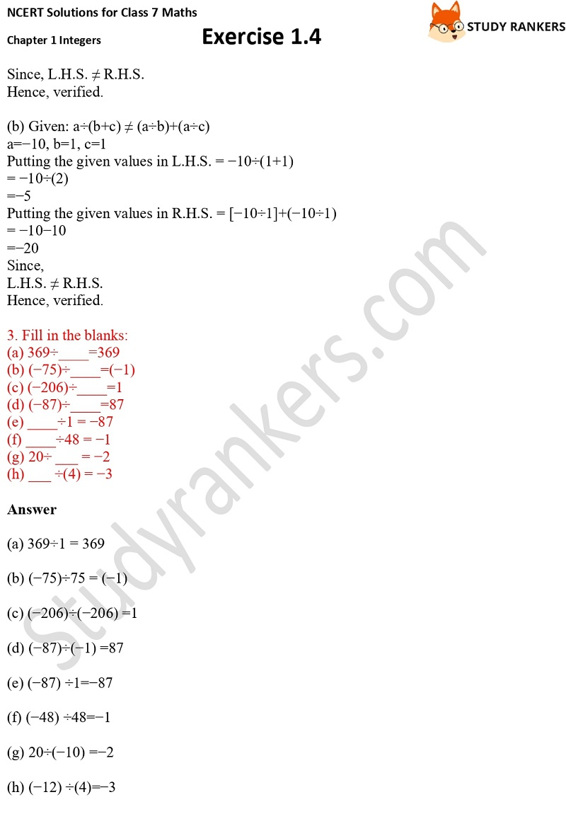 NCERT Solutions for Class 7 Maths Ch 1 Integers Exercise 1.4 3