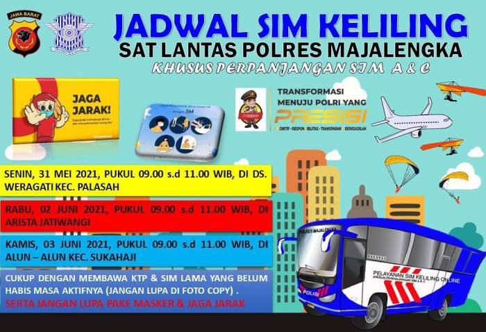Jadwal Lengkap SIM Keliling Majalengka Bulan Juni 2021