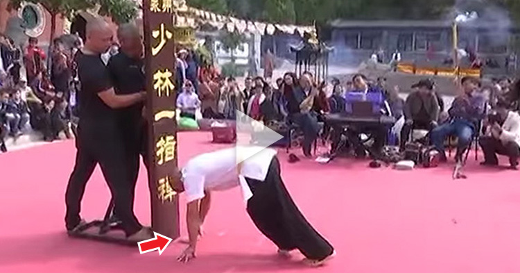 "Incredible Shaolin Skill: The ""One Finger Stand"" performed by a Monk"