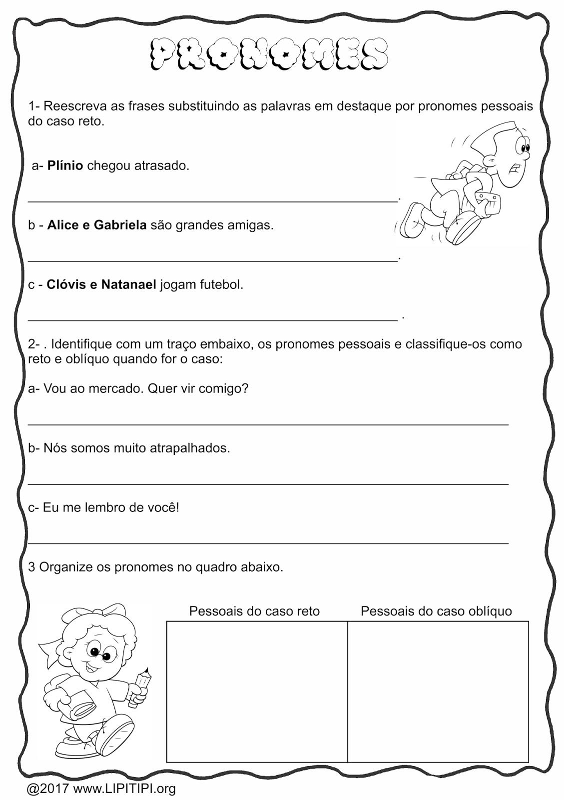 Populares Lipitipi- Atividades e Projetos Fundamental I: Atividade Pronomes  GS89