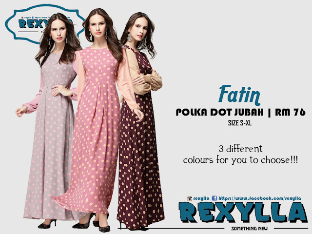 rexylla, polka dot, jubah, fatin collection