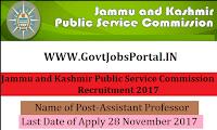 Jammu and Kashmir Public Service Commission Recruitment 2017– 563 Assistant Professor