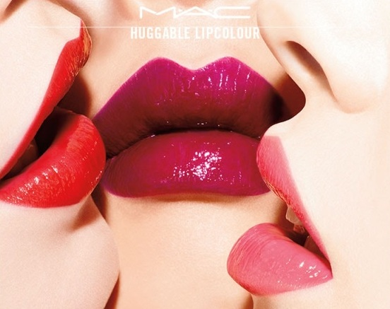 MAC Huggable Lipcolour on lips: Cherry Glaze, Commotion, and What a feeling!