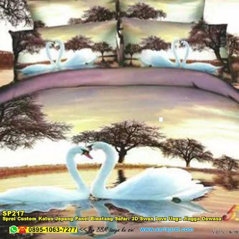 Sprei Custom Katun Jepang Panel Binatang Safari 3D Swan Love Ungu Jingga Dewasa