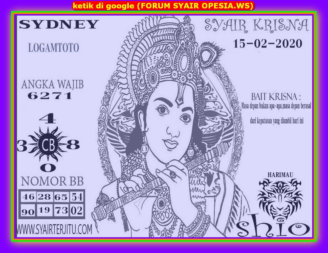 Kode syair Sydney Sabtu 15 Februari 2020 74