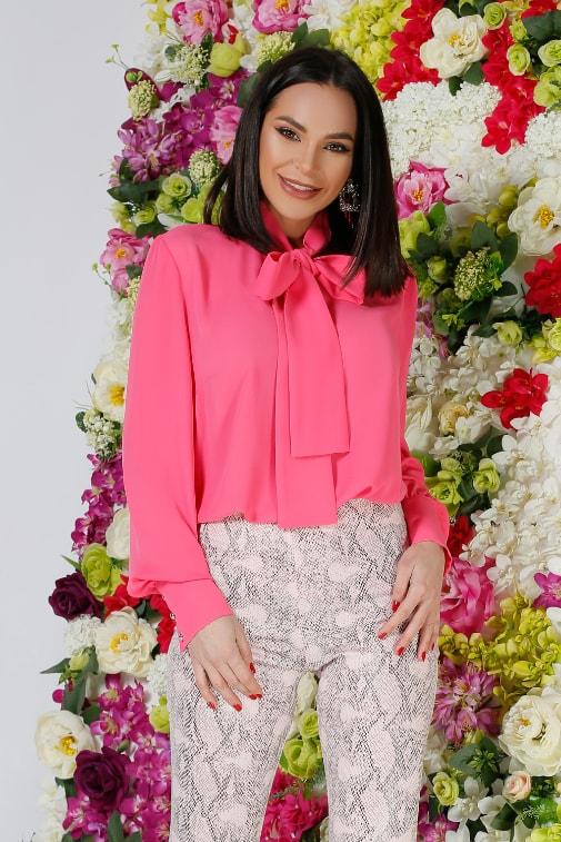 Bluza de zi si birou eleganta voal roz moderna