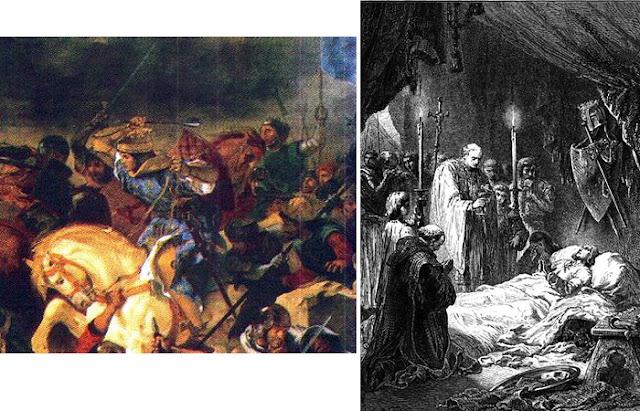 Santo Luís IX em batalha (fragmento de pintura de E. Delacroix, 1837) / Morte do Santo Rei Luís IX da França