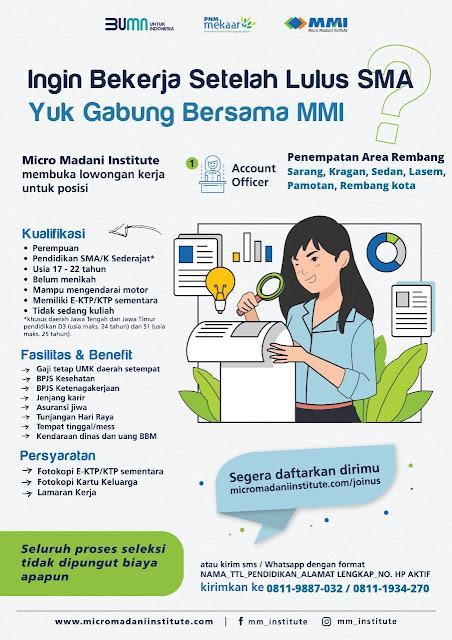 Lowongan Kerja Account Officer BUMN Micro Madani Institute Rembang Sarang Kragan Sedan Lasem Pamotan