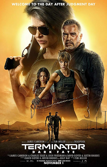"Paramount Pictures, Twentieth Century Fox, and Skydance Media present the movie poster for ""Terminator: Dark Fate"" (2019), starring Mackenzie Davis, Linda Hamilton, Arnold Schwarzenegger, Natalia Reyes, Gabriel Luna, and Diego Boneta"