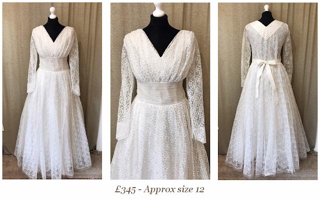 long sleeve lace 1950's vintage wedding dress from vintage lane bridal boutique bolton