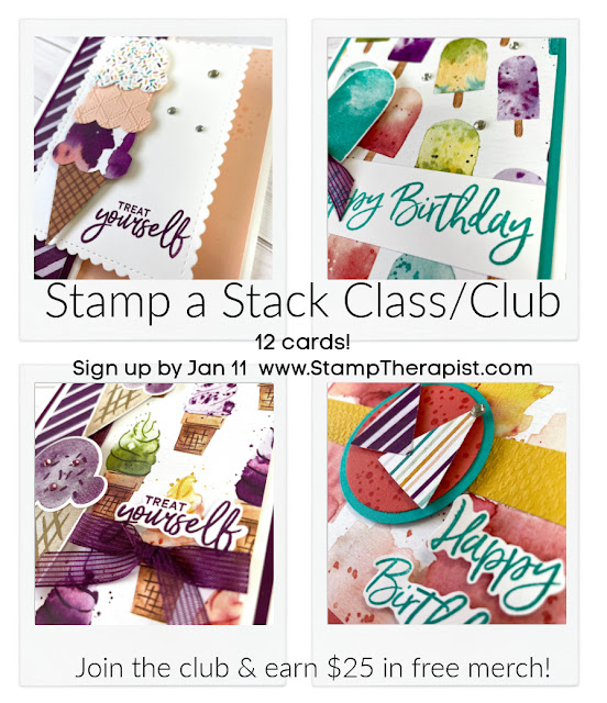 Stampin' Up! Sweet Ice Cream Bundle stamp a stack class Jan 2021.