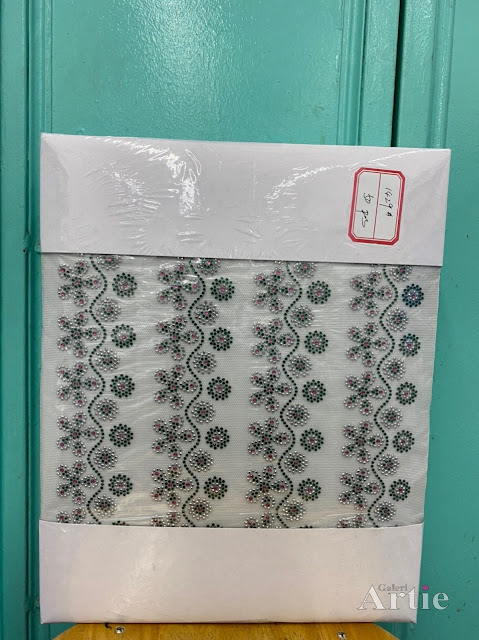 Hotfix stickers dmc rhinestone aplikasi tudung bawal fabrik pakaian bunga 5 kuntum dengan bunga kecil
