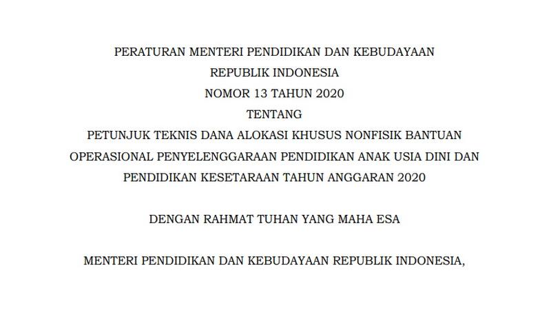 Permendikbud Nomor 13 Tahun 2020 tentang Juknis BOP PAUD dan Pendidikan Kesetaraan