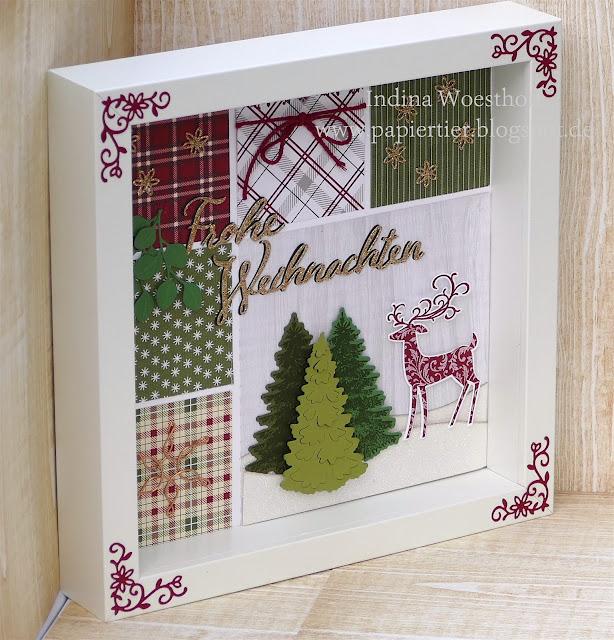 Weihnachtshirsch | Homedeko Stampin' Up! | papiertier Indina | Blog Hop